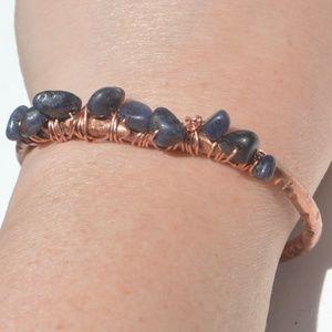 Blue Sapphire Copper Cuff Bracelet Artisan Reiki